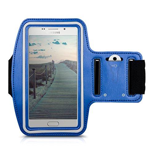 Galleria fotografica kwmobile fascia da braccio sportiva per Samsung Galaxy A5 (2016) - jogging corsa borsa da sport fascia fitness con scomparto per chiavi nella fascia da braccio in blu