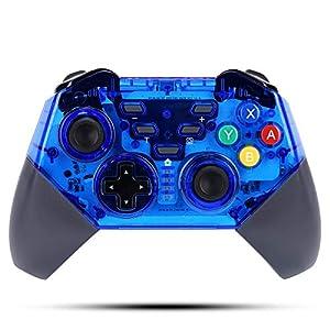 Wireless Controller für Nintendo Switch,KINGEAR Pro Controllers Wireless Gamepad Kompatibel mit Nintendo Switch,Unterstützt die Gyro-Achsen Funktion und Doppel Vibration (Blau)