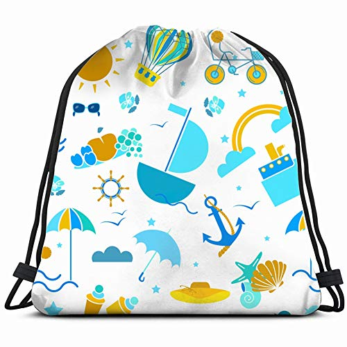 khgkhgfkgfk Summer Icons Design Anchor Sports Recreation Drawstring Backpack Gym Sack Lightweight Bag Water Resistant Gym Backpack for Women&Men for Sports,Travelling,Hiking,Camping,Shopping Yoga
