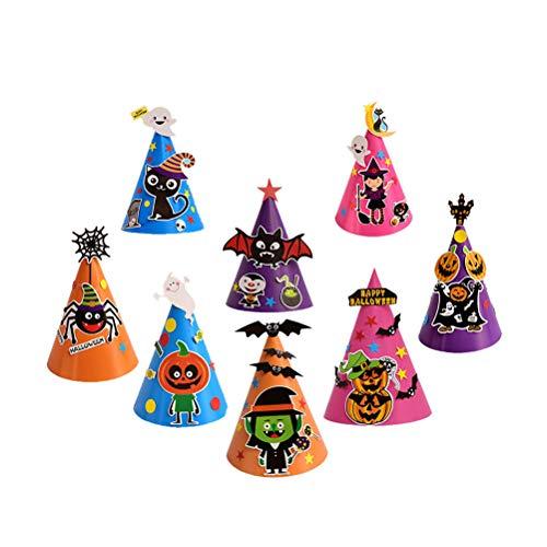 Amosfun 8 stücke Halloween Party Hüte Cartoon Halloween Papier Hut Handwerk Caps DIY Handgemachte Maskerade Party Kleid Liefert für Kinder Kinder Kinder Party Dekoration