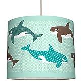 anna wand Lampenschirm ALL MY ORCAS – Schirm für Kinder/Baby Lampe mit Orcas versch. Farben – Sanftes Licht für Tisch-, Steh- & Hängelampe im Kinderzimmer Mädchen & Junge