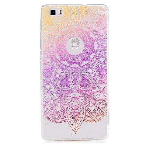 MUTOUREN Etui cas TPU silicone pour Huawei P8 Lite Coque Case Cover Housse de protection Shell avec mince motif imprimé Souple Couvrir Ultra Mince- Indian Tournesol violet