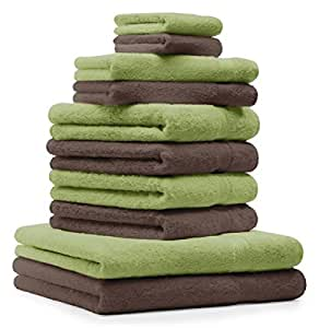 10 tlg. Handtuch Set Premium Farbe Apfel Grün & Nuss Braun 100% Baumwolle 2 Duschtücher 4 Handtücher 2 Gästetücher 2 Waschhandschuhe