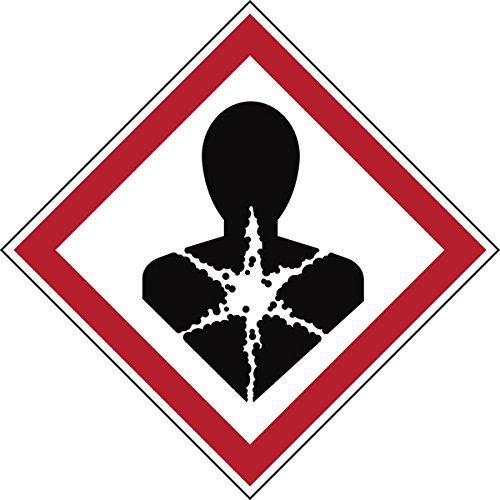 Brady 811712 di sostanze pericolose in poliestere laminato, segnale di pericolo GHS respiratoria, 70 mm x 70 mm, in cartoncino, 6 pezzi, colore: rosso/bianco su nero
