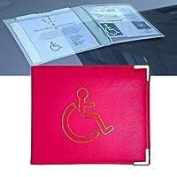 Disabled Badge Holder PU Leather with Metal Corner Hologram Safe Parking Permit Display 16.5 x 13.5 cm - Hot Pink