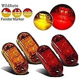 WildAuto - Remorque Led Feux De Gabarit , Feux De Dégagement - Pour Camion , Remorque - 2 Diodes - 12 V/24 V - Ovale - Ambré Et Rouge - 2,5 Pouce - 4 PCs