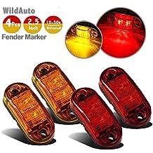 WildAuto - Led Camión Luces De Posicion Lateral , Luces Galibo - Para Camión Remolque - 2,5 Pulgada - 2 LEDs - 12 V/24 V - Oval - 4 Pcs(2 rojo y 2 ámbar )