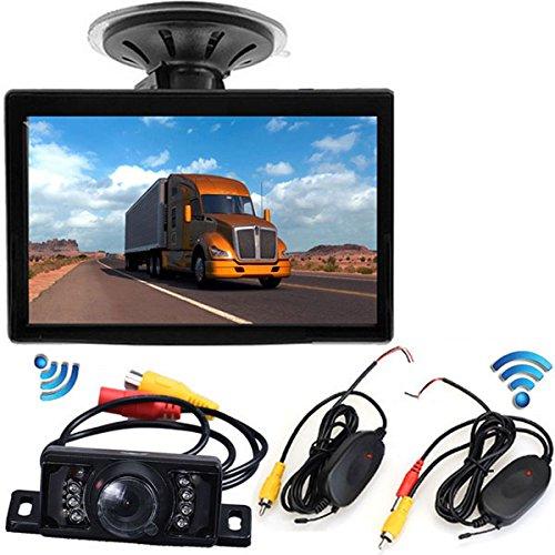 pumpkin1:Drahtlose Rückfahrkamera, 5-Zoll-Display-Farbmonitor HD +7 IR-LEDs Fahrzeug-Rückfahrkamera Nachtsicht-System wasserdicht Am besten an das Auto anpassen