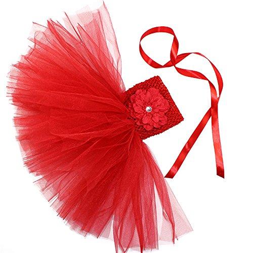 Honeystore Mädchen Spitze Prinzessin Rock Sommer Blumen Kleider für Baby Kleinkinder Kinder 0-2 Jahre alt Small Rot mit (Mädchen Leichte Kostüme Selbstgemacht Halloween)