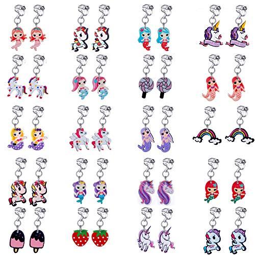 20 paia di orecchini a clip da principessa, set di orecchini a forma di sirena, clipon, unicorno, lecca lecca-ghiaccio, orecchini a goccia arcobaleno per bambine. e ottone, cod. th-ej