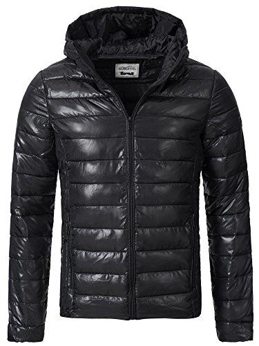 Sublevel Herren Steppjacke Winter Jacke mit Kapuze 44351A Schwarz XXL