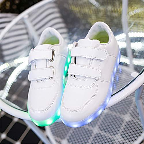 Top Shishang Velcro Männer und Frauen Schuhe USB-Lade-Flash-LED-Schuhe,weiß,30 (Weiß-schule Tennis-schuhe)