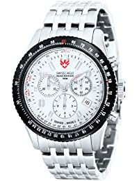 Swiss Eagle Flight Deck Men's Quartz Watch with White Dial Analogue Display and Silver Stainless Steel Strap SE 9023 22