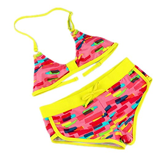 AMYMGLL Kinder Bikini Europa aufgeteilter Badeanzug Mädchen Badeanzug Umwelt hohe elastische Schwimmen Waten yellow waist