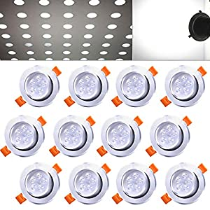Hengda® 12X 5W LED Einbauleuchte Dimmbar Kaltweiß IP44 Silber Matt für das Bad geeignet Innenbeleuchtung 230v   Rund   Einbauspot   Deckenleuchten  