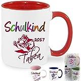 Schulkind 2017~~Tasse Kaffeebecher Kaffee Tasse mit Namen bedruckt Namentasse personalisiert mit Wunschnamen Geschenk zur Einschulung Schulanfang