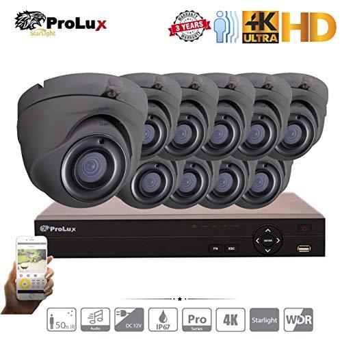ProluX Überwachungskamera, 5 MP, 4 K Auflösung, 4 Kanäle, 8 Kanäle, 16 Kanäle, DVR NVR (4TB) Festplatte mit (10) LTS Outdoor 5 Megapixel 50 M IR Nachtsicht Überwachung Unterstützung 12/24 IP 8 MP - Lorex-security-kamera