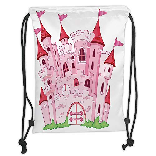 Fashion Printed Drawstring Backpacks Bags,Fantasy,Princess Castle Cute Fairy Tale Princess Magic Kingdom Cartoon Illustration,Pink White Soft Satin,5 Liter Capacity,Adjustable String Closure,The S