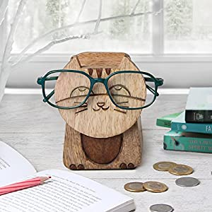 Store Indya Handmade Wooden 2 in 1 Spectacle Eyeglass Holder with Piggy Bank