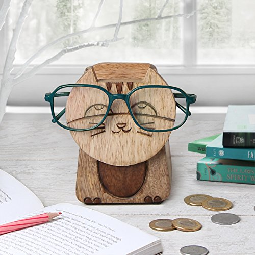 Valentine Day Handmade Wooden 2 in 1 Spectacle Eyeglass Holder with Piggy...