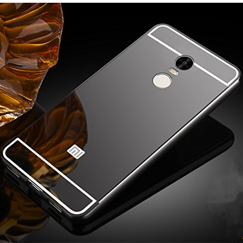 online store 8eaa4 f31ec MVE(TM) Luxury Metal Bumper + Acrylic Mirror Back Cover Case For XIAOMI  REDMI NOTE 4 GREY