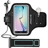 Galaxy S7 Edge/S8 Brassard, JEMACHE Gym Courir Sport Armband pour Samsung Galaxy S7 Edge/S8 avec clé/cartes de visites (Noir)