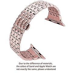Idea Regalo - Compatibile Cinturino Apple Watch 44mm Series 4 Metallo, iBazal Apple Watch Cinturino 42mm Acciaio Braccialetto con Diamante di Cristallo per Apple Watch Series 4/Series 3/Series 2/Series 1 - Oro Rosa