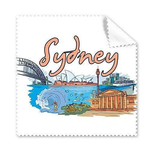 CFHJN Home Opernhaus Sydney-Wahrzeichen von Sydney und Great Barrier Reef Watercolor Glass Cloth-Putztuch-Telefon-Bildschirmreiniger