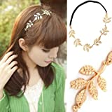 1pcs Fashion Lady Black Elastic Hairpin Rope Hair Band Gold Olive Leaf Headband (leaf Headband)