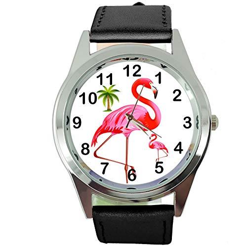 taport Flamingo rund Quarzuhr schwarz Leder Band + Gratis Ersatz Akku + Geschenk Tasche