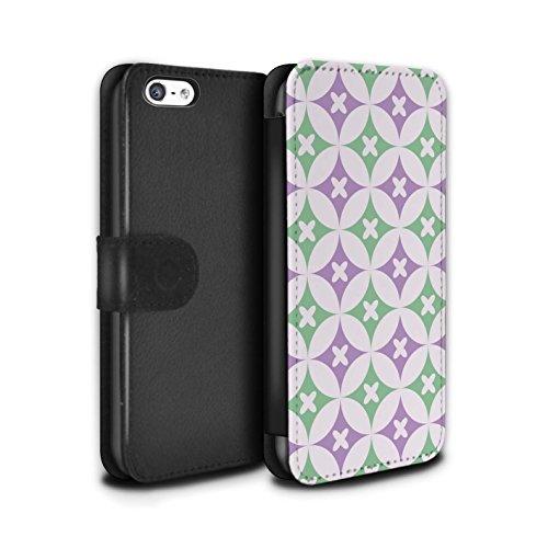 Stuff4 Coque/Etui/Housse Cuir PU Case/Cover pour Apple iPhone 5C / Multipack Design / Kaléidoscope Collection Violet / Vert