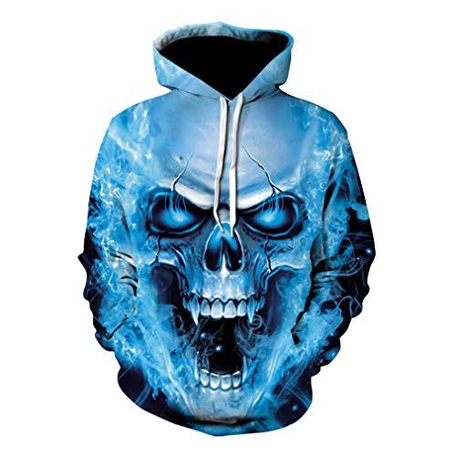 kunfang Herren 3D Bedruckte Totenkopf Kapuzenpullover Langarm Tunnelzug Hooded Lose Halloween Hooded Sweatshirt