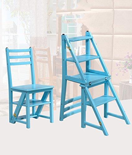 CAIJUN Chaises Sièges Deux Étages Étagères Multifonctions Rubber Wood Fold, Bleu, Hauteur 90cm Chair Ladder