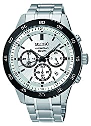 Seiko Chronograph Black Dial Stainless Steel Mens Watch SKS531