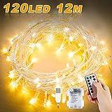 Lichterkette Batterie, Nasharia 12M 120 LED USB Lichterkette mit Fernbedienung und Timer 8 Modi Dimmbar Batterie betrieben Lichterkette Außen Innen für Zimmer Weihnachten Weihnachtsbaum - Warmweiß