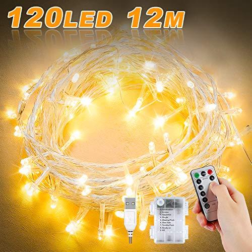 Lichterkette Batterie, 12M 120 LED USB Lichterkette mit Fernbedienung und Timer 8 Modi Dimmbar Batterie betrieben Lichterkette Außen Innen für Zimmer Weihnachten Weihnachtsbaum - Warmweiß