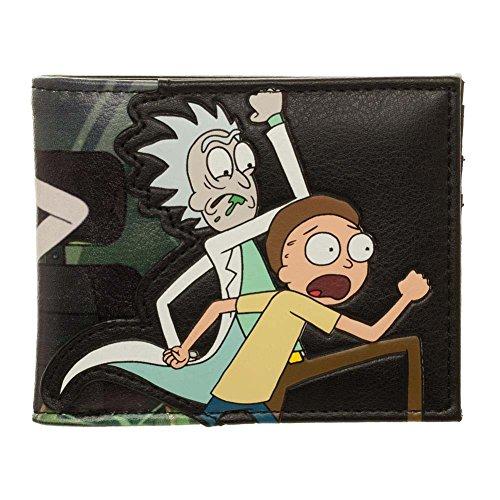 Offizielle Männer Erwachsene Schwimmen Rick und Morty Charakter PU Bi-Fold Black Wallet -