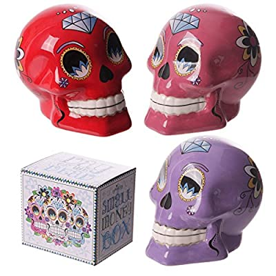 Ceramic Candy Skull Day of the Dead Money Box