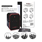 hyleton Wordwide Reiseadapter, 4 USB-Anschlüsse mit 5,6 A High-Speed-Ladegerät und 1 3,0 A Typ C International Wall Charger All in One Universal Adapter für Handys und Tablets – EU UK US AU-Stecker