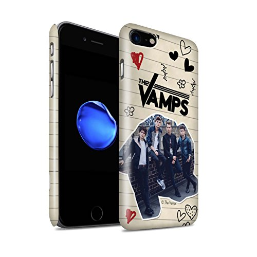 Offiziell The Vamps Hülle / Glanz Snap-On Case für Apple iPhone 8 / Schwarz Stift Muster / The Vamps Doodle Buch Kollektion Schwarz Stift