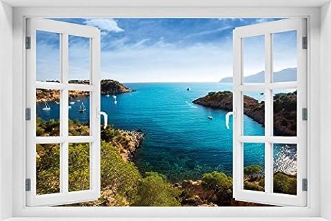 Wallario Acrylglasbild mit Fenster-Illusion: Motiv Ibiza - Blick von einer Bucht aufs Meer - 60 x 90 cm mit Fensterrahmen in Premium-Qualität: Brillante Farben, freischwebende (Illusion Glas Schiff)