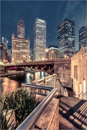 Poster 61 x 91 cm: Night Walk Chicago von Sören Bartosch - hochwertiger Kunstdruck, neues Kunstposter -