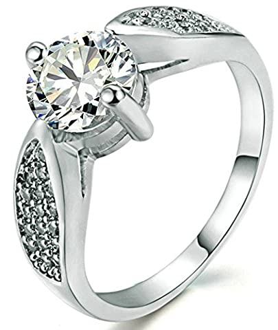 SaySure 18K White Gold Plated Austrian Crystal Wedding & Engagement Rings