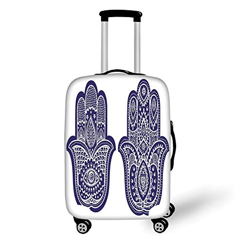 Travel Luggage Cover Suitcase Protector,Hamsa,Two Hand of Fatima Figures with Ethnic Old Fashioned Ornaments Vintage Asian,Violet Blue White,for Travel L Violett Double Old Fashioned