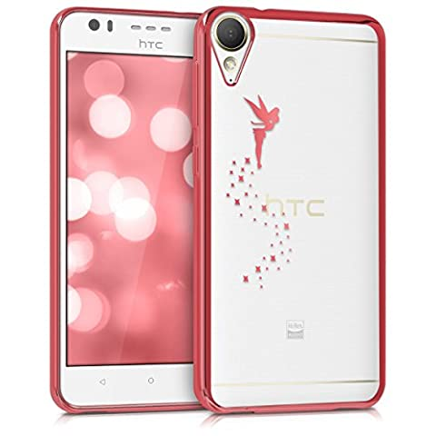 kwmobile Étui transparent élégant avec Design fée pour HTC Desire 10 Lifestyle en rose foncé transparent