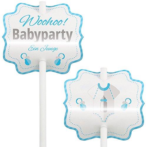 Mia Félice Baby Shower, Babyparty, Kuchen, Kucheneinstecker, Cupcake Deko, Muffin Deko, Cake-Pops, Einstecker, 12 Stück, Junge, Blau - Baby Cake Shower Pops