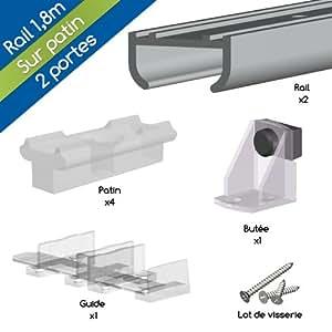 Système porte coulissante APIS pour 2 portes de placard - rail 1,8 m - 9 kg - Coulissant sur patin