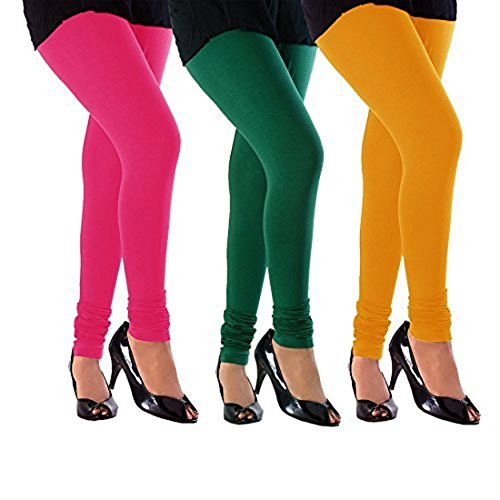 M.G.R.J Women\'s Cotton Lycra Churidar Leggings Combo (Pack of 3 Yellow, Green, Pink) - Free Size