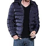 KPPONG Herren Dicker Mantel einfarbig Herbst und Winter warme Mütze Tasche Reißverschluss Abnehmbare lose Größe Baumwollmantel Blau XXX-Large