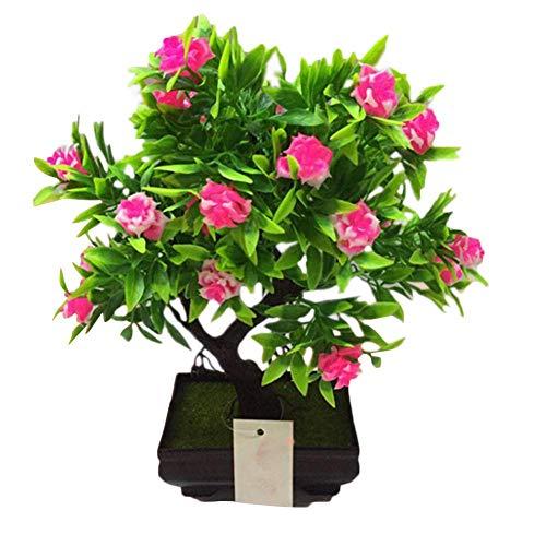 Sommer\'s Laden Künstlicher Kleine Rose Mit Blumentopf Outdoor - Hochwertiger Kunstbonsai Kunststoff Bonsai Home Dekor Für Haus Garten Party Blumenschmuck Restaurantdekoration